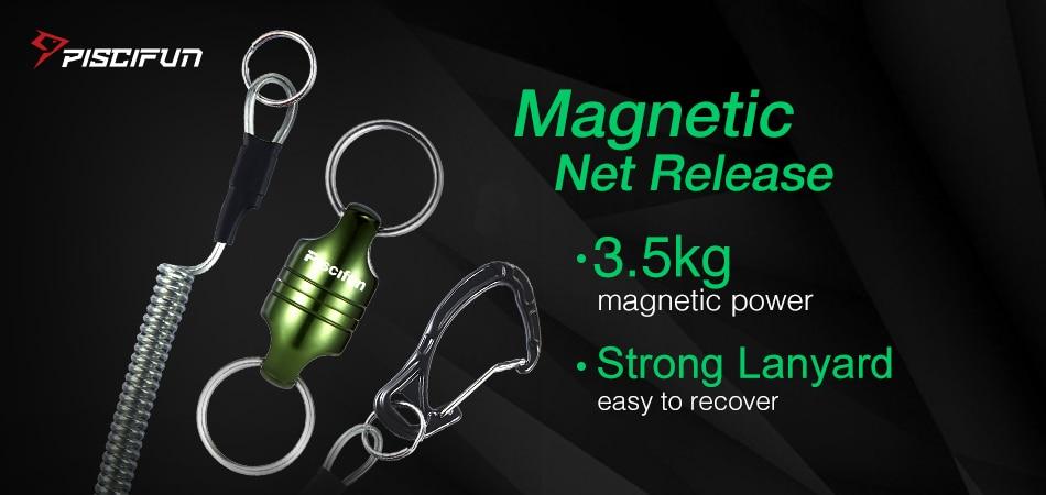 Magnet na podběrák Piscifun s natahovacím lankem.